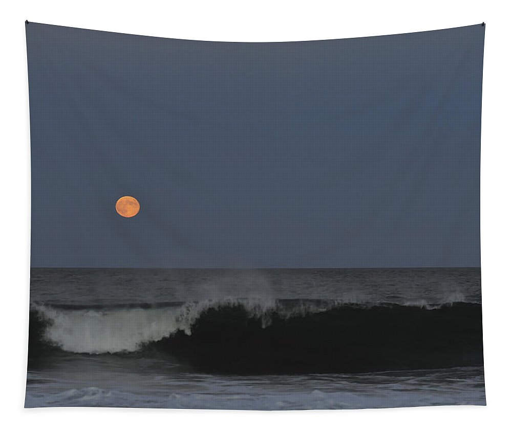 Harvest Moon Tapestry featuring the photograph Harvest Moon Seaside Park Nj by Terry DeLuco