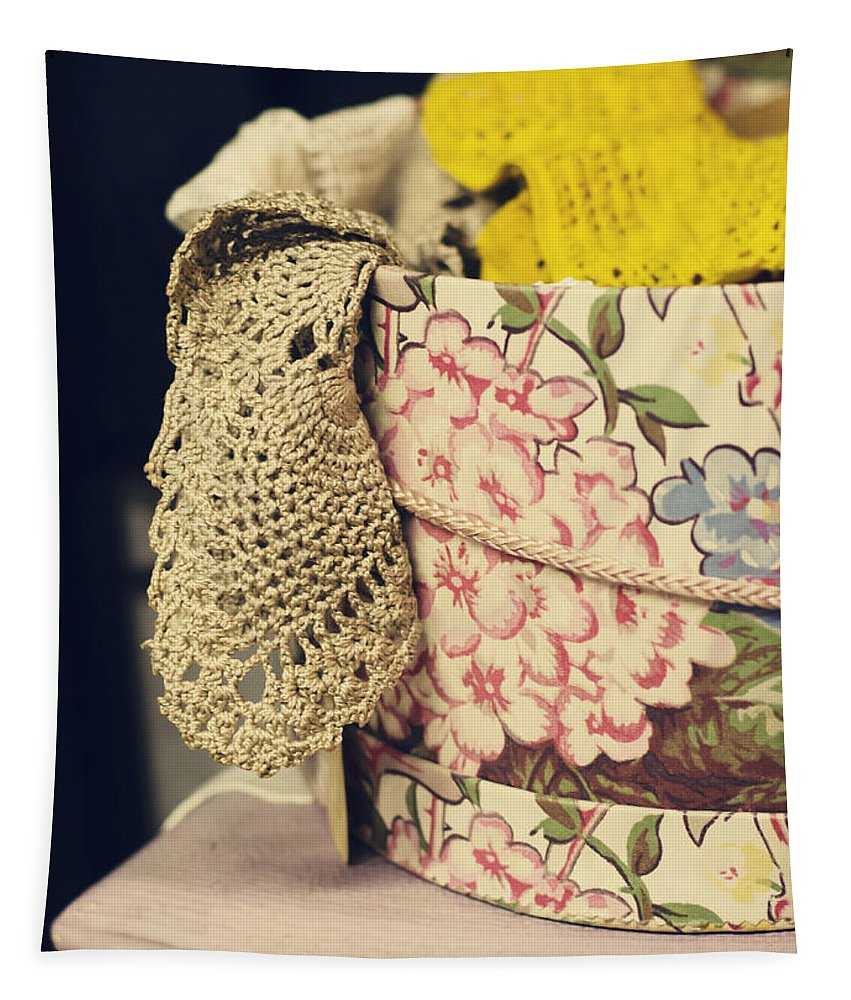Lace Tapestry featuring the photograph Hatbox Of Lace by Heather Applegate