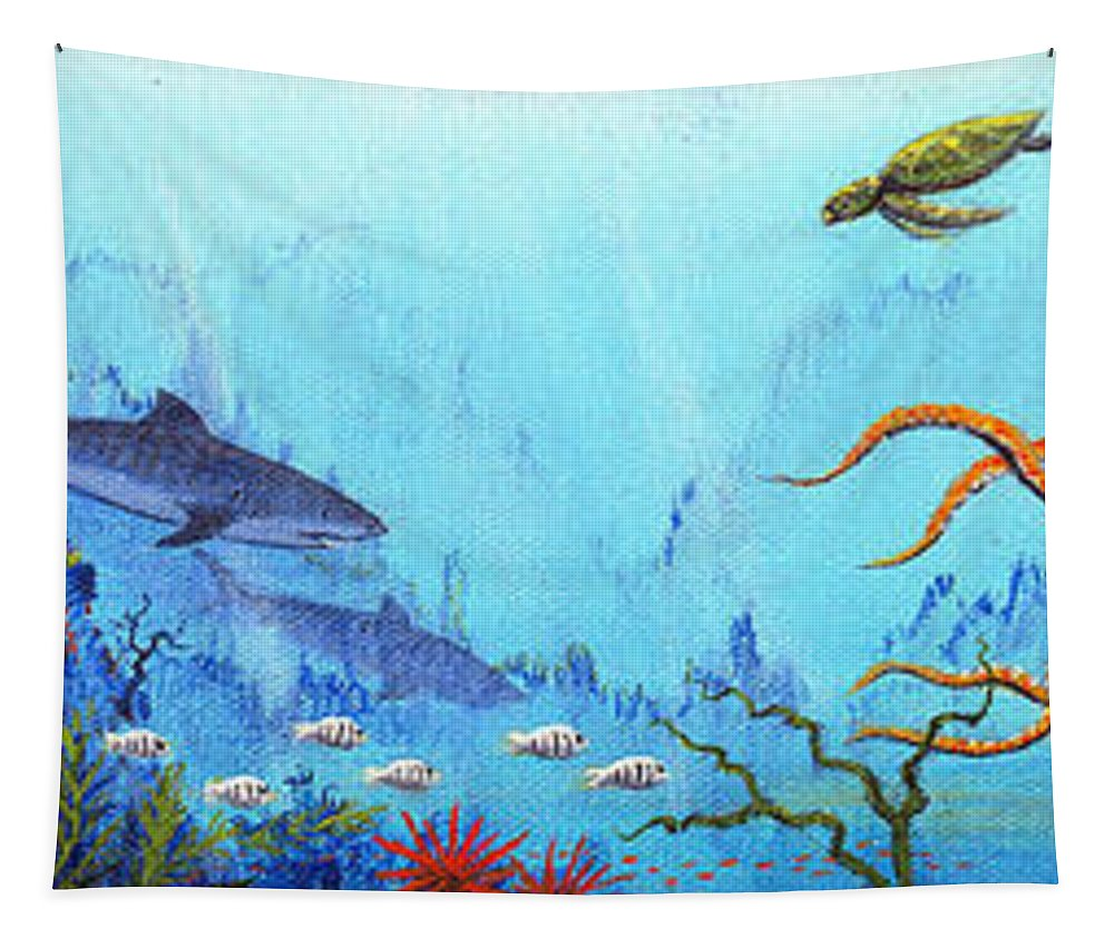 Hawaii Tapestry featuring the painting Hawaii Sea Life by Jerome Stumphauzer