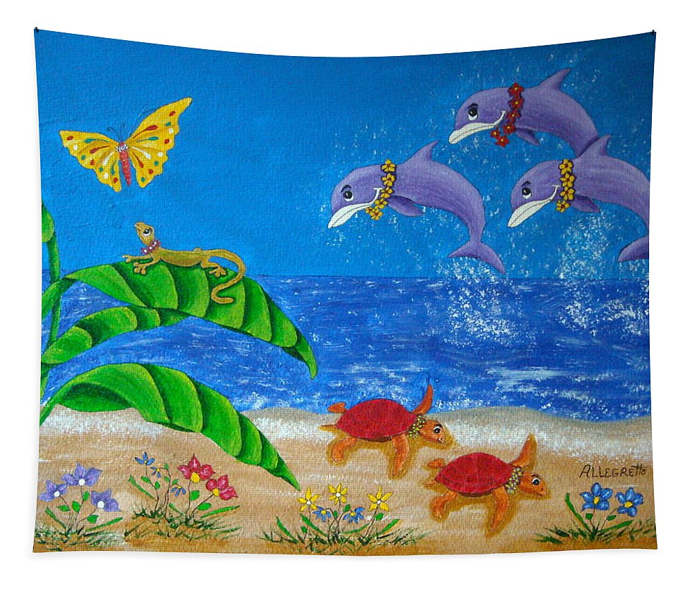 Allegretto Art Tapestry featuring the painting Hawaiian Lei Day by Pamela Allegretto