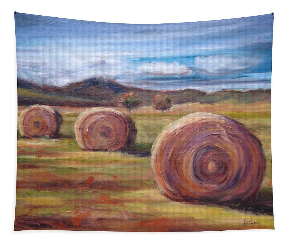 Virginia Tapestry featuring the painting Hay Harvest by Donna Tuten