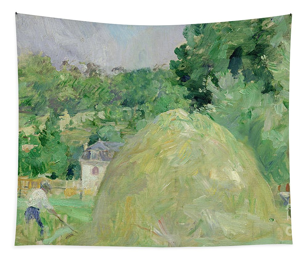 Haystack; Landscape; Field; Impressionist; Agriculture; Harvest; Farming; Harvesting; Haymaking; Landscapes Tapestry featuring the painting Haystacks At Bougival by Berthe Morisot