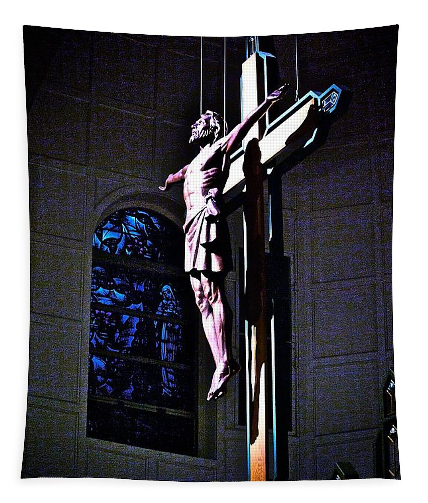 Resurrected Christ Tapestry featuring the photograph He Has Covered Himself In Glory by Frank J Casella