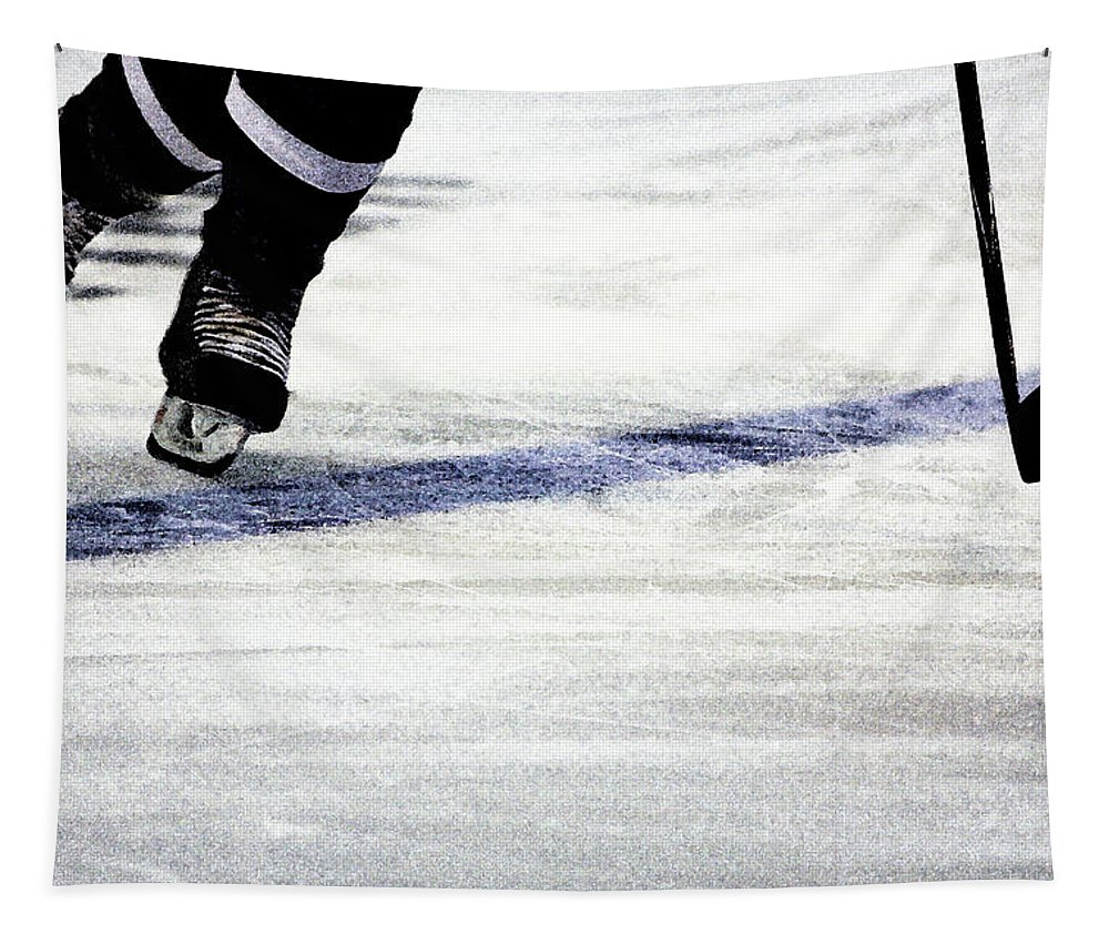 Hockey Tapestry featuring the photograph He Skates by Karol Livote
