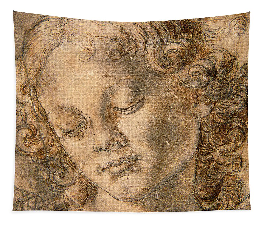 Head Of An Angel Tapestry featuring the drawing Head Of An Angel by Andrea del Verrocchio