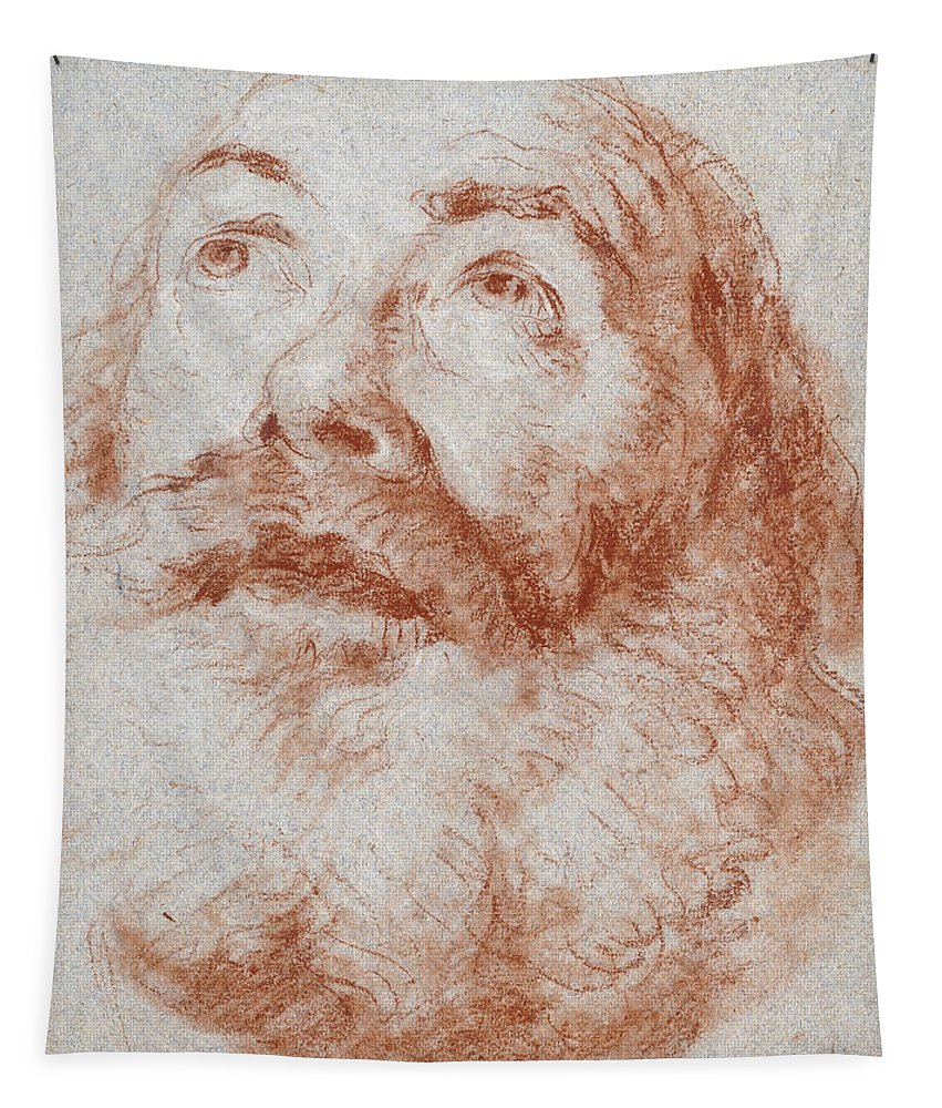 Head Of A Man Looking Up Tapestry featuring the drawing Head Of An Old Man Looking Up by Giovanni Battista Tiepolo