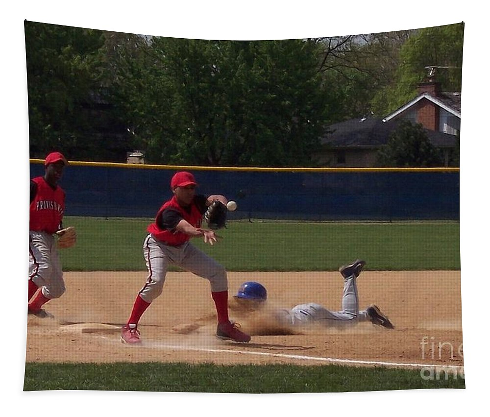 Sports Tapestry featuring the photograph Head Slide In Baseball by Thomas Woolworth