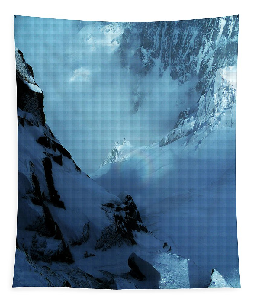 Chamonix Tapestry featuring the photograph Headwall Mount Blanc by Frank Wilson