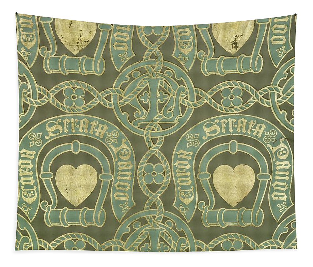 Decorative Tapestry featuring the painting Heart Motif Ecclesiastical Wallpaper by Augustus Welby Pugin
