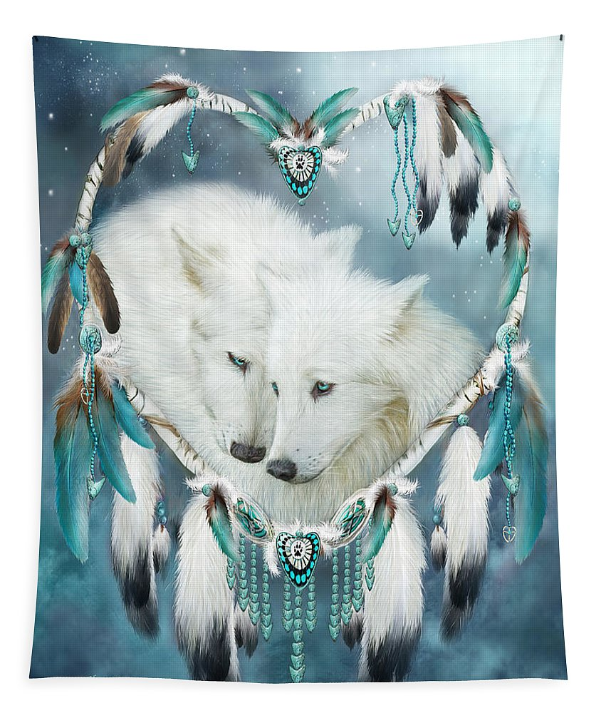 Carol Cavalaris Tapestry featuring the mixed media Heart Of A Wolf by Carol Cavalaris