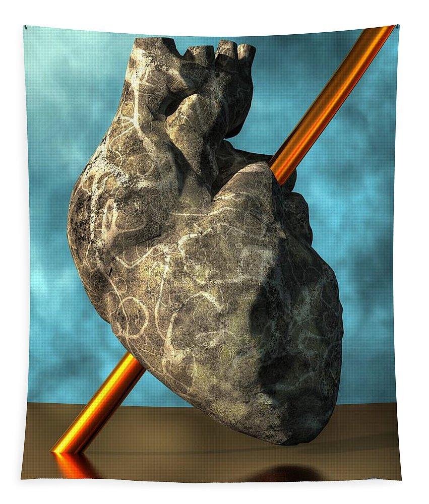 Stone Heart Tapestry featuring the digital art Heart Of Stone by Daniel Eskridge