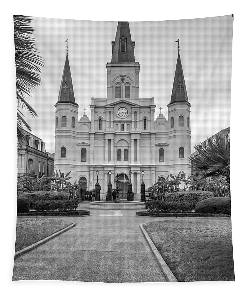 Tapestry featuring the photograph Heart Of The French Quarter Monochrome by Steve Harrington