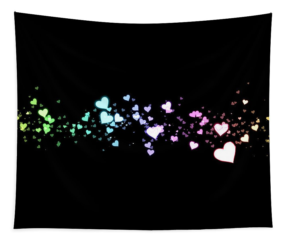 Heart Tapestry featuring the digital art Hearts In Space by Kurt Van Wagner