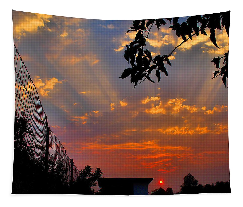 Sun Tapestry featuring the photograph Heavenly Rays Two by Joyce Dickens