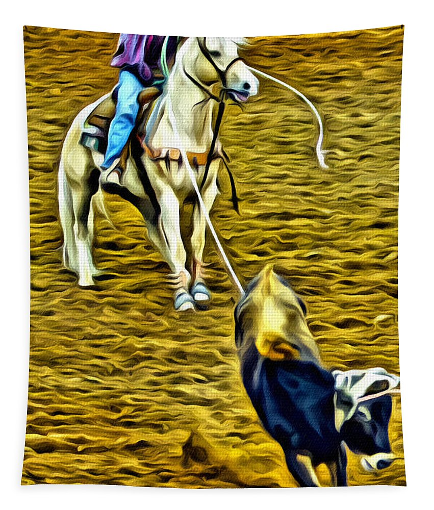 Cowboy Tapestry featuring the photograph Heeled Steer by Alice Gipson