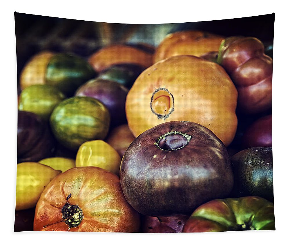 Fruit Tapestry featuring the photograph Heirloom Tomatoes At The Farmers Market by Scott Norris