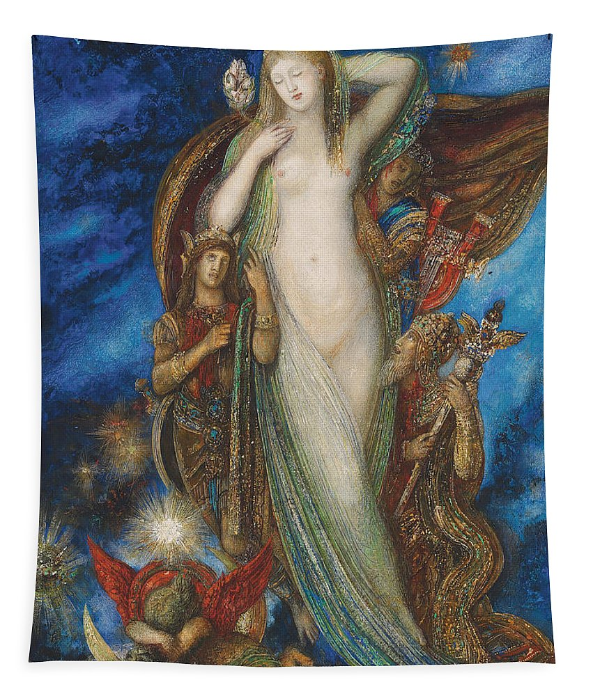 Helen Glorified Tapestry featuring the painting Helen Glorified by Gustave Moreau