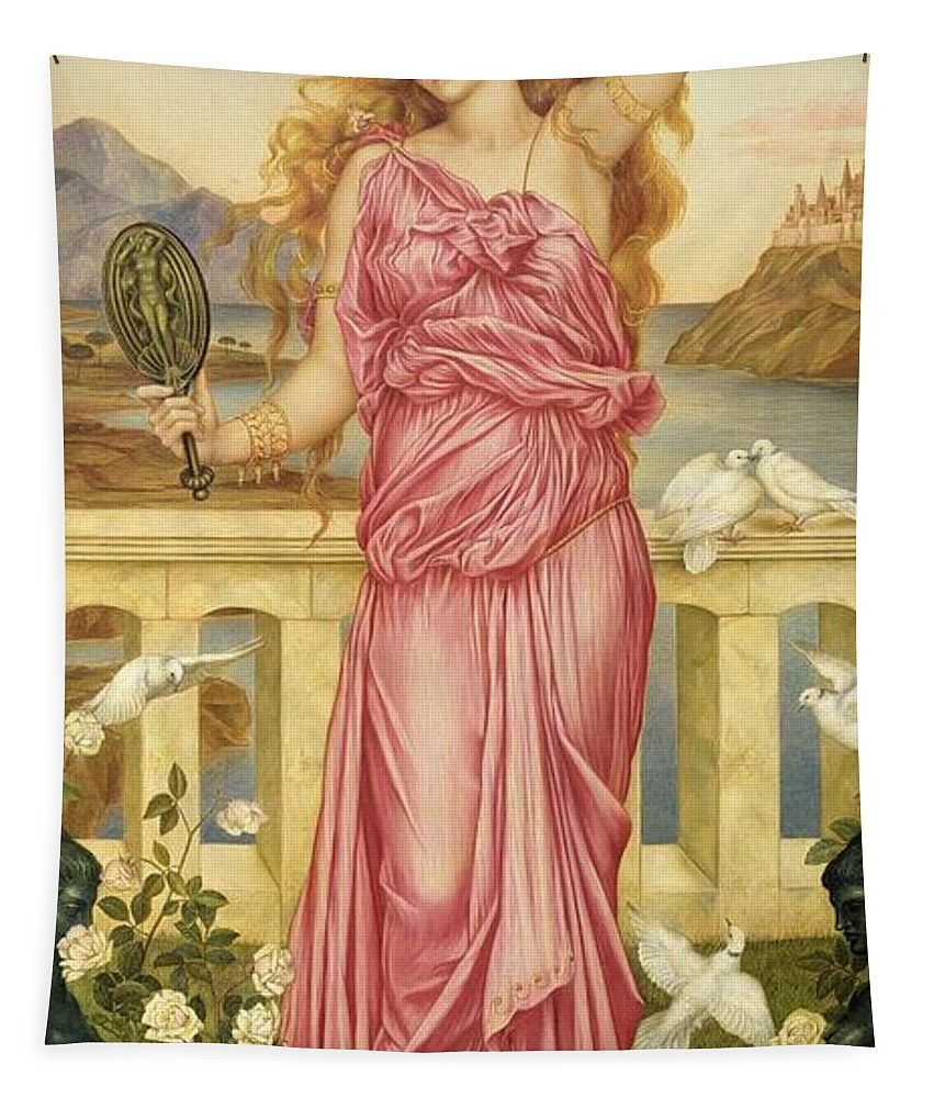 William Tapestry featuring the painting Helen Of Troy by Evelyn De Morgan