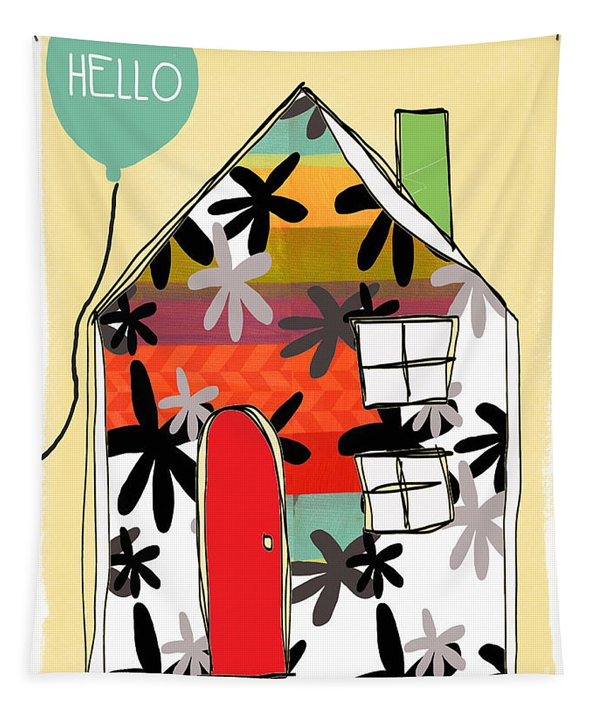 House Tapestry featuring the mixed media Hello Card by Linda Woods