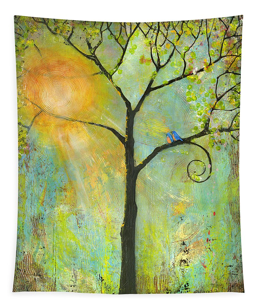 Tree Tapestry featuring the painting Hello Sunshine Tree Birds Sun by Blenda Studio