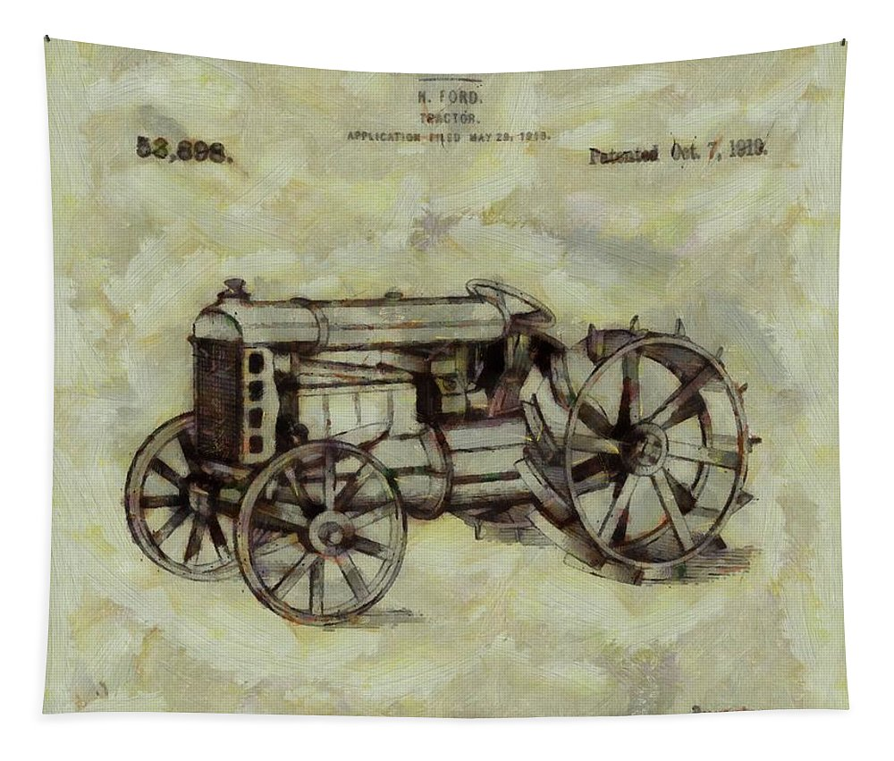 Henry Ford Tractor Patent Tapestry featuring the digital art Henry Ford Tractor Patent by Dan Sproul