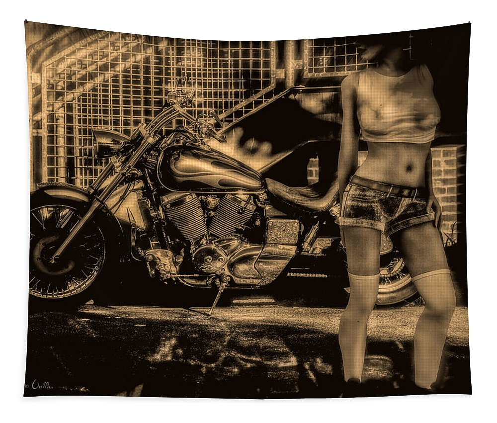Motorcycle Tapestry featuring the photograph Her Bike by Bob Orsillo
