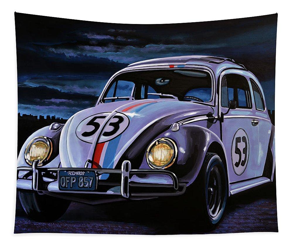 Herbie Tapestry featuring the painting Herbie The Love Bug Painting by Paul Meijering
