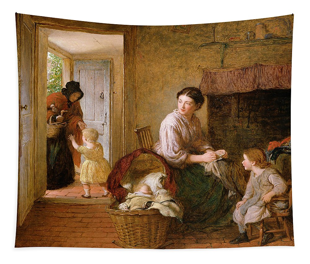 Baby Dickens Basket Mother Tapestry featuring the painting Heres Granny by George Smith