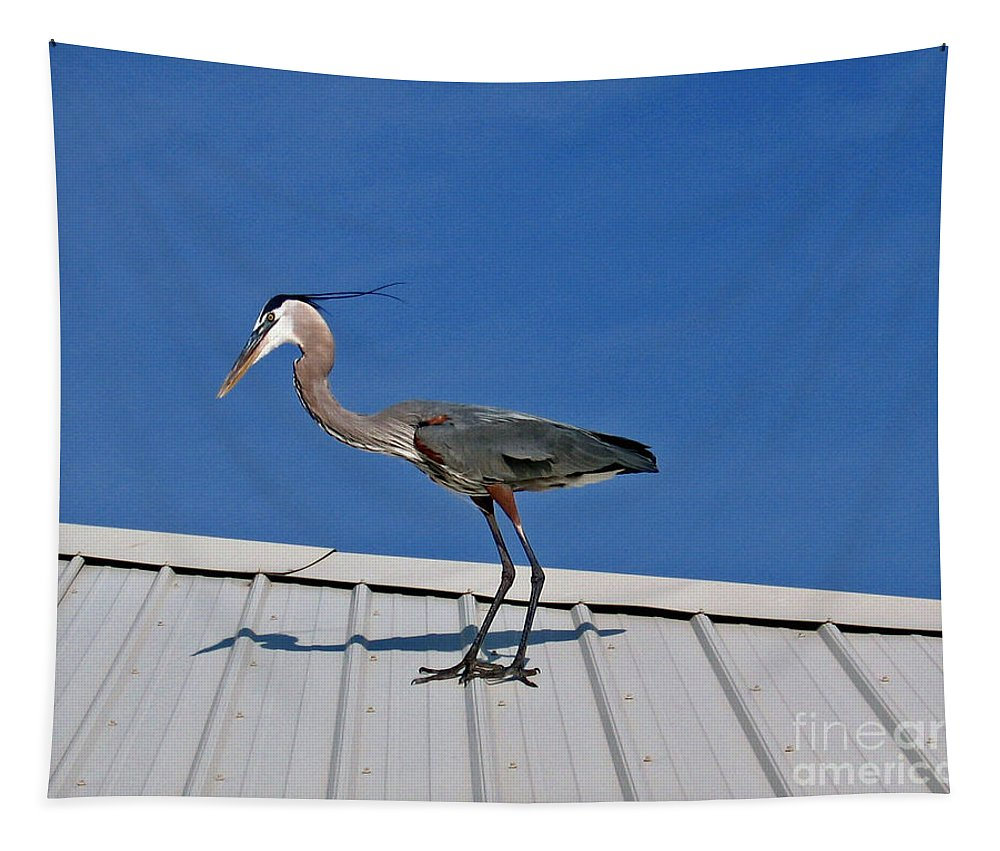 Blue Heron Tapestry featuring the photograph Heron On Rooftop by Marian Bell