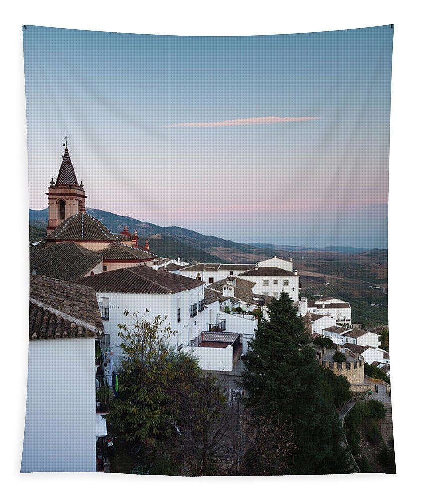 Photography Tapestry featuring the photograph High Angle View Of A Town, Zahara De La by Panoramic Images