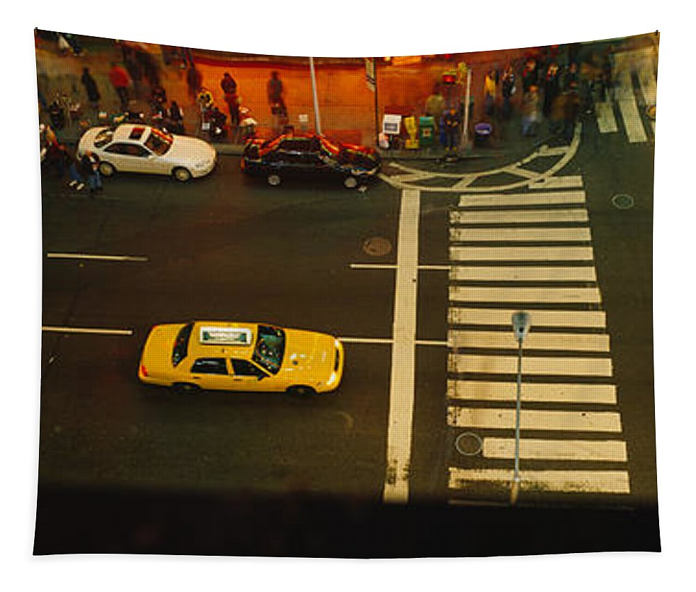 Photography Tapestry featuring the photograph High Angle View Of Cars At A Zebra by Panoramic Images
