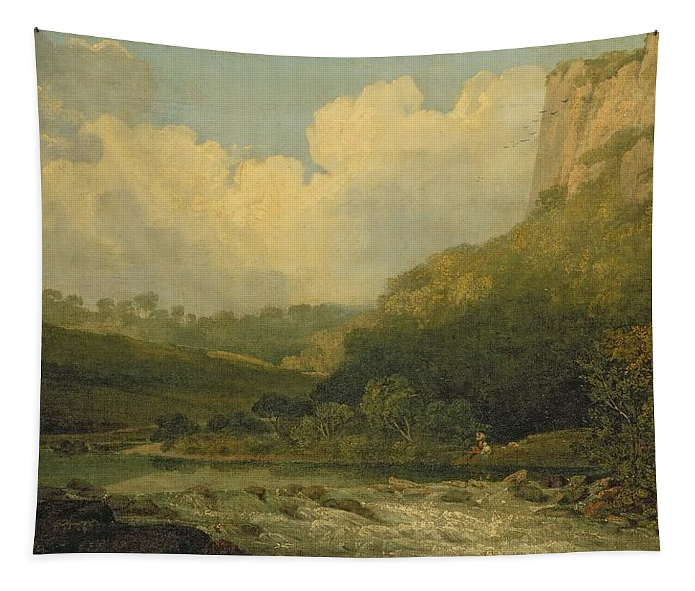 Fishing Tapestry featuring the painting High Tor, Matlock, 1811 by John Crome