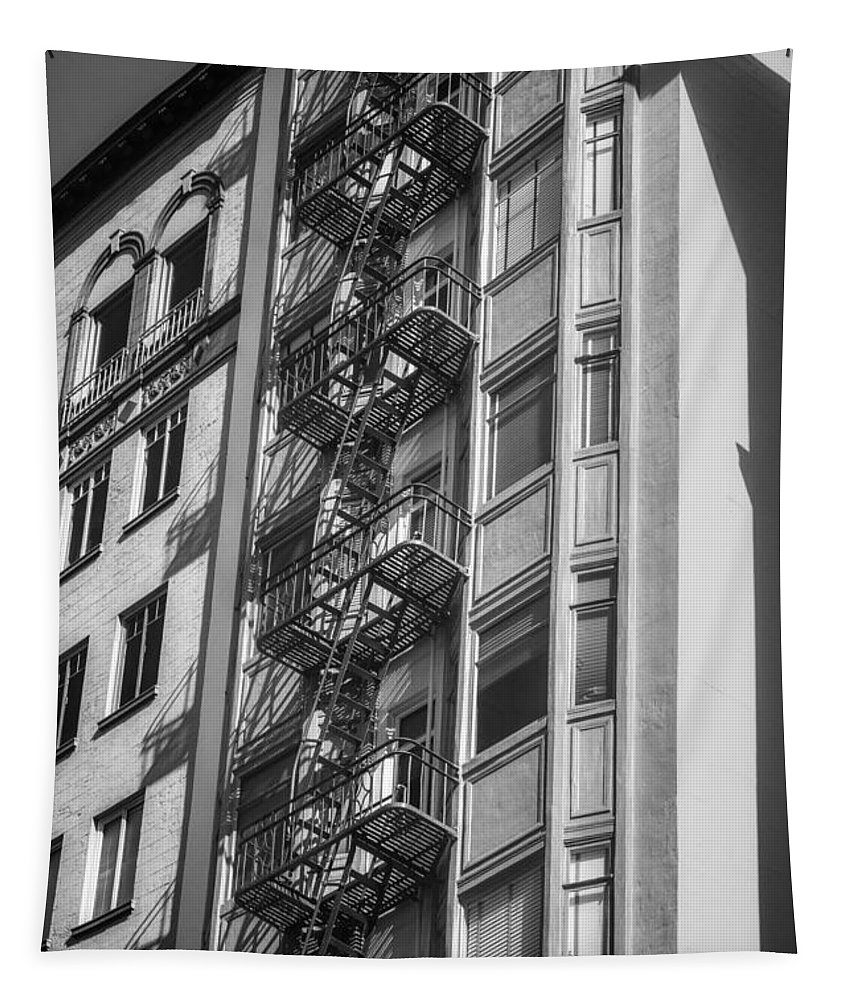 Architecture Tapestry featuring the photograph Highrise Fire Escape Bw by Jerry Fornarotto