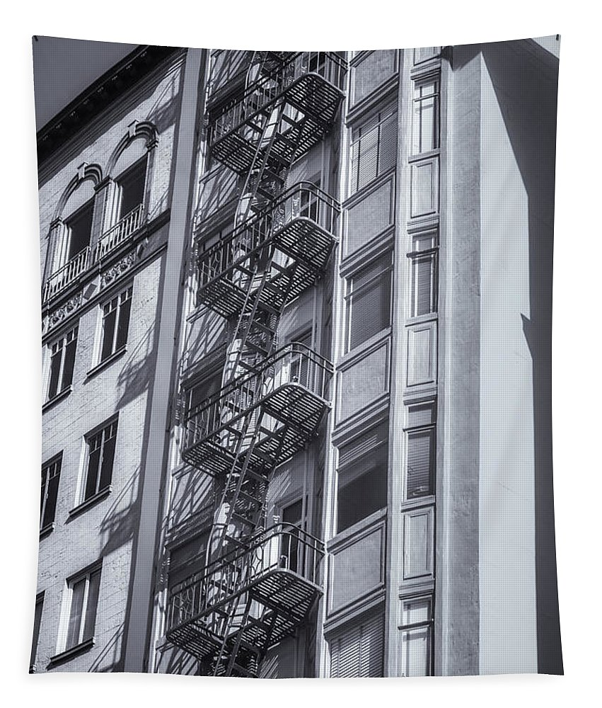 San Francisco Tapestry featuring the photograph Highrise Fire Escape Selenium by Jerry Fornarotto
