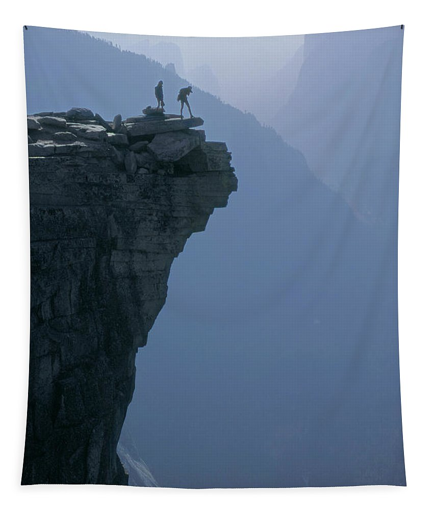 Hikers Tapestry featuring the photograph M-m6743-hikers On Half Dome's Lip by Ed Cooper Photography