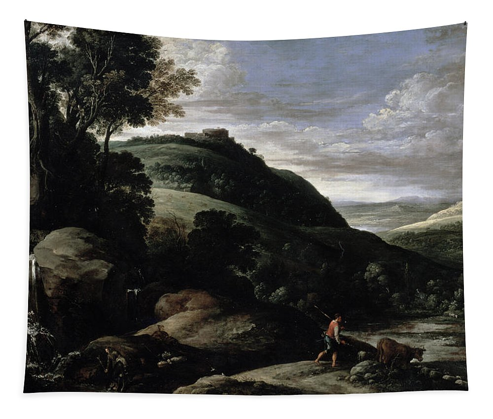 Cattle Tapestry featuring the painting Hilly Landscape by Paul Brill or Bril