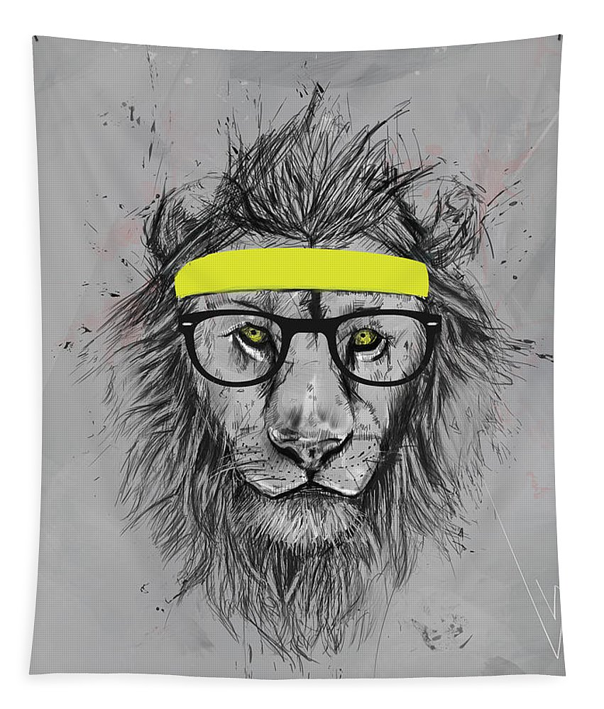 Lion Tapestry featuring the drawing Hipster lion by Balazs Solti