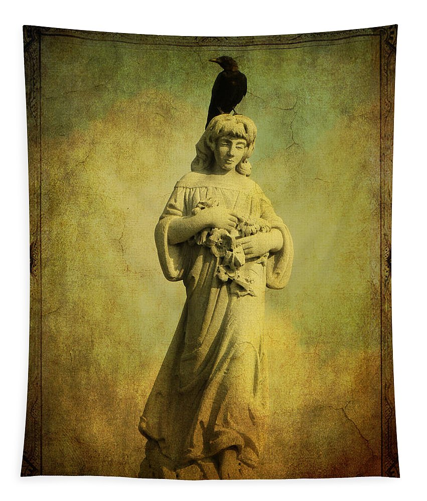 Crow And Angel Tapestry featuring the photograph His Find by Gothicrow Images
