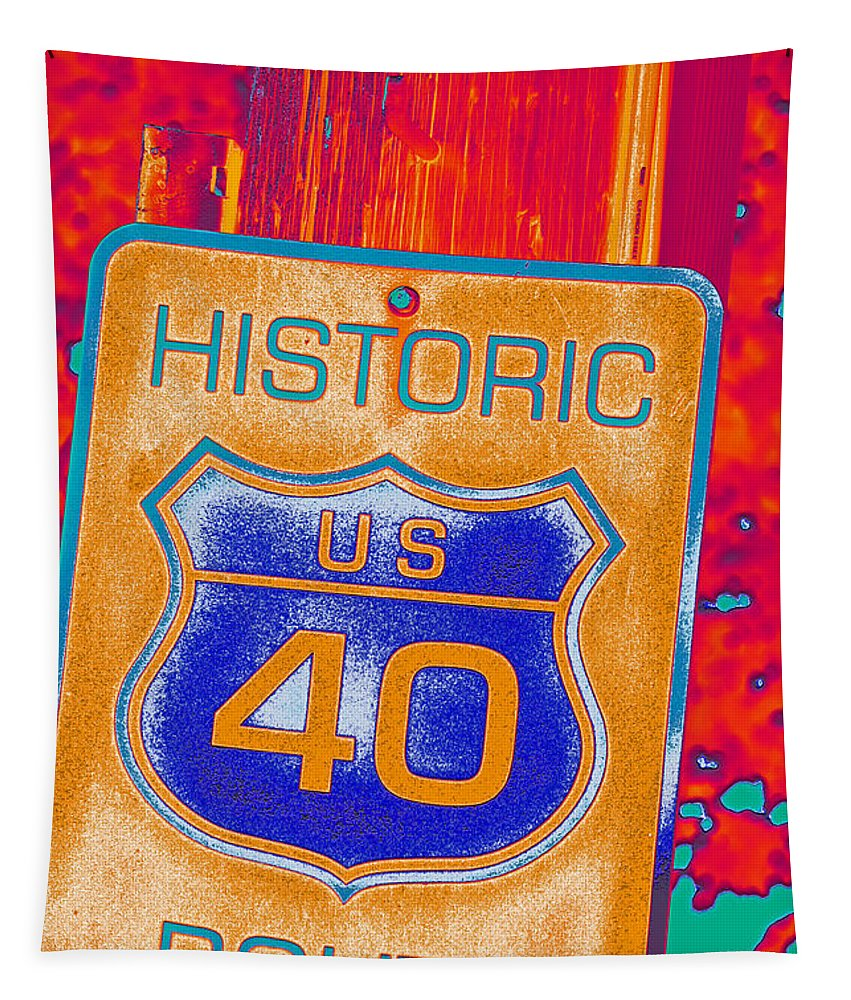 teen Fashion girl's Fashion women's Fashion Fashion Tapestry featuring the photograph Historic Route 40 Pop Art by Bill Owen