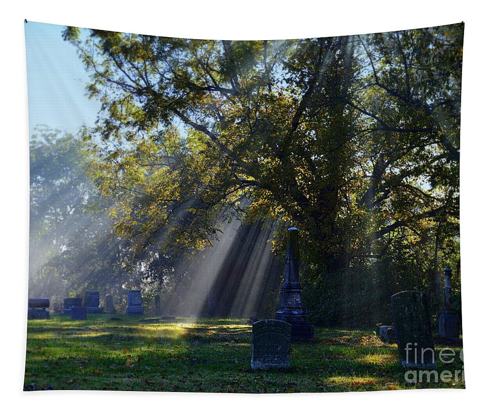 Sibley Tapestry featuring the photograph Historic Sibley Cemetery At Fort Osage Missouri by Catherine Sherman