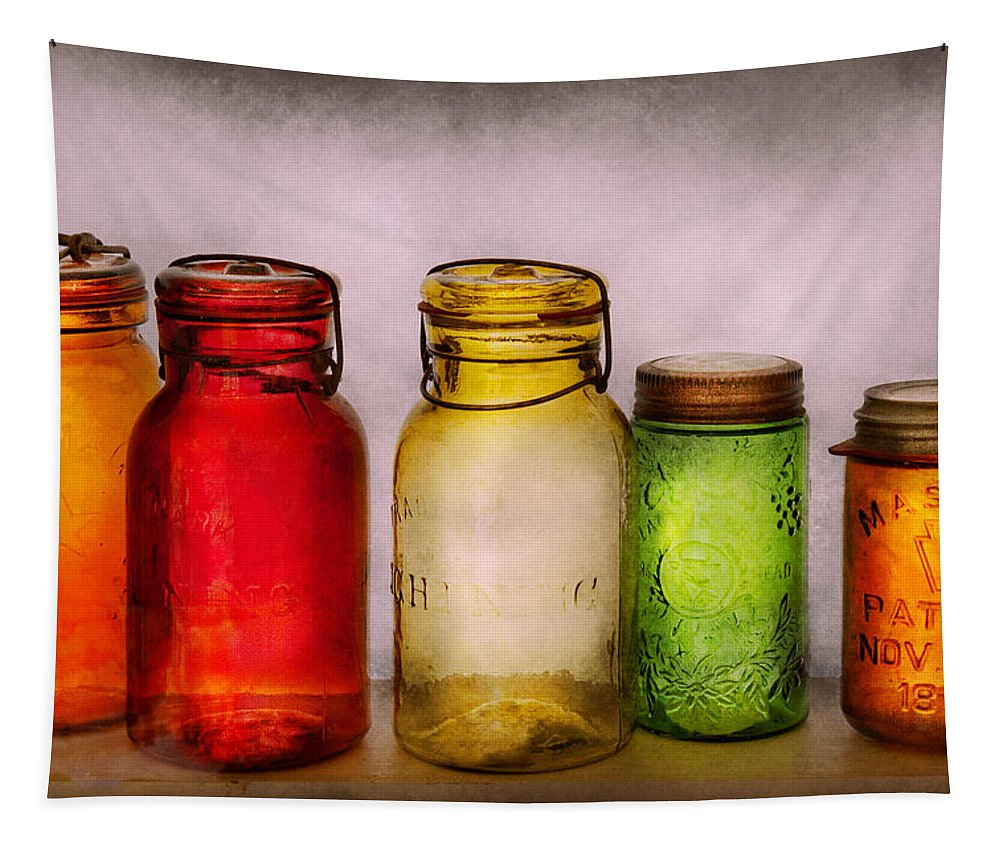 Savad Tapestry featuring the photograph Hobby - Jars - I'm A Jar-aholic by Mike Savad