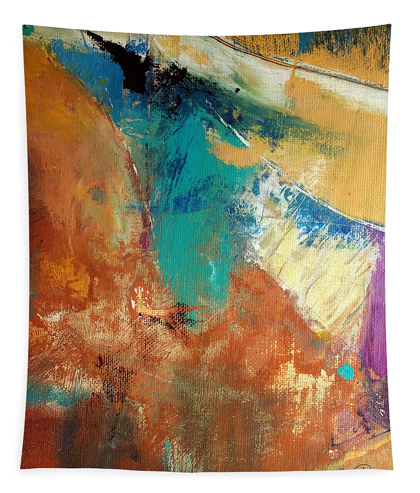 Abstract Tapestry featuring the painting Hold On Until Tomorrow by Ruth Palmer