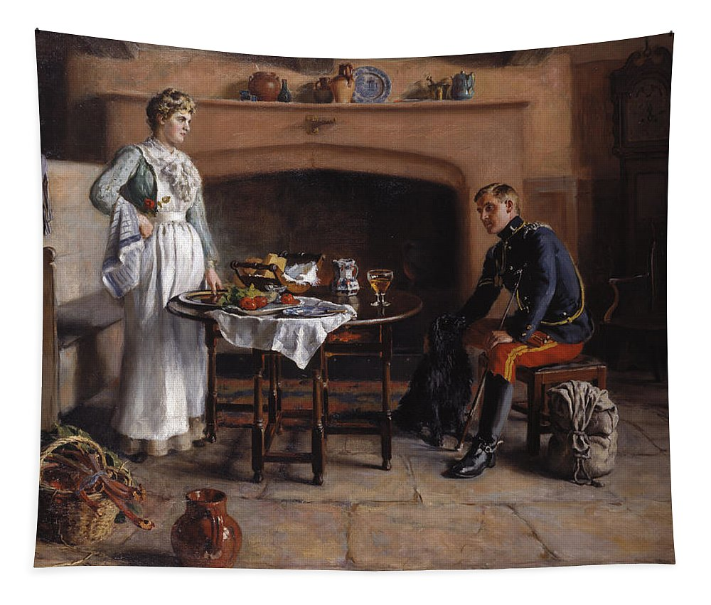 Kitchen Tapestry featuring the painting Home Sweet Home by Charles Martin Hodges