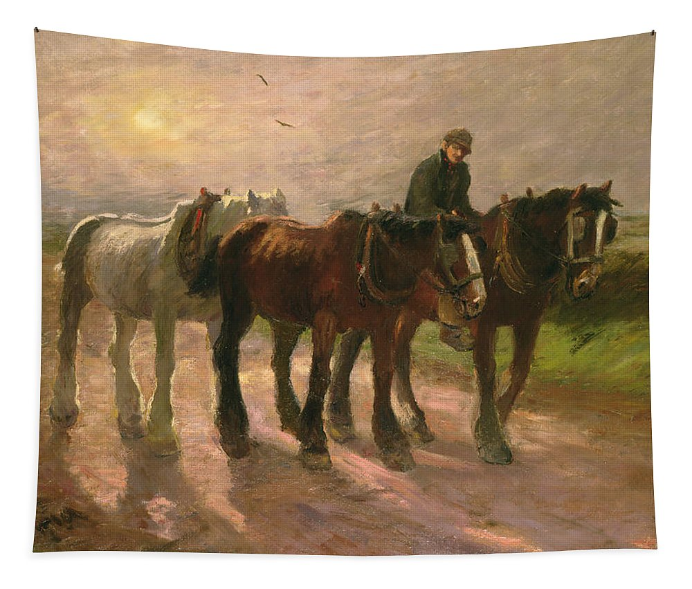 Horse Tapestry featuring the painting Homeward by Harry Fidler