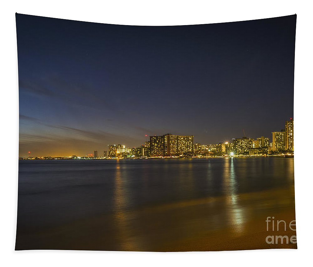 Honolulu Evening Tapestry featuring the photograph Honolulu Evening by Mitch Shindelbower
