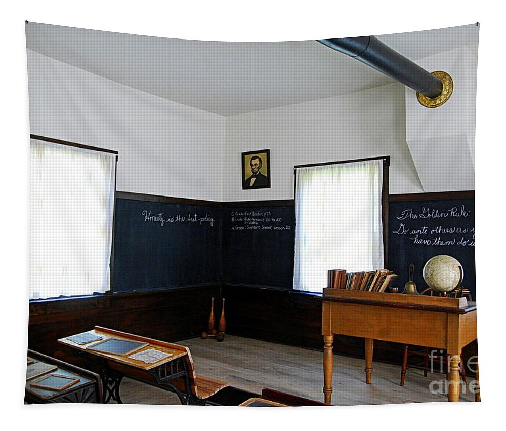 Hoover. Herbert Hoover Tapestry featuring the photograph Hoover Historic Site Schoolhouse Classroom by Catherine Sherman