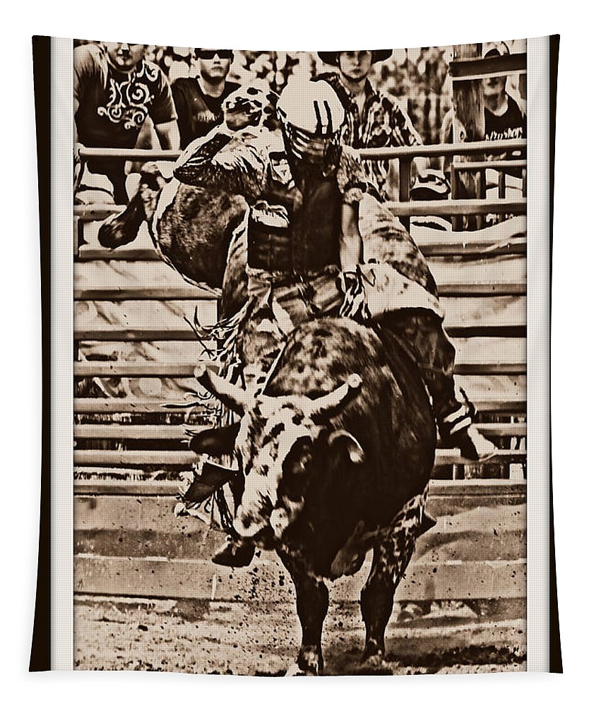 Bullrider Cracker Day Bull Rodeo Tapestry featuring the photograph Hooves In The Air by Alice Gipson