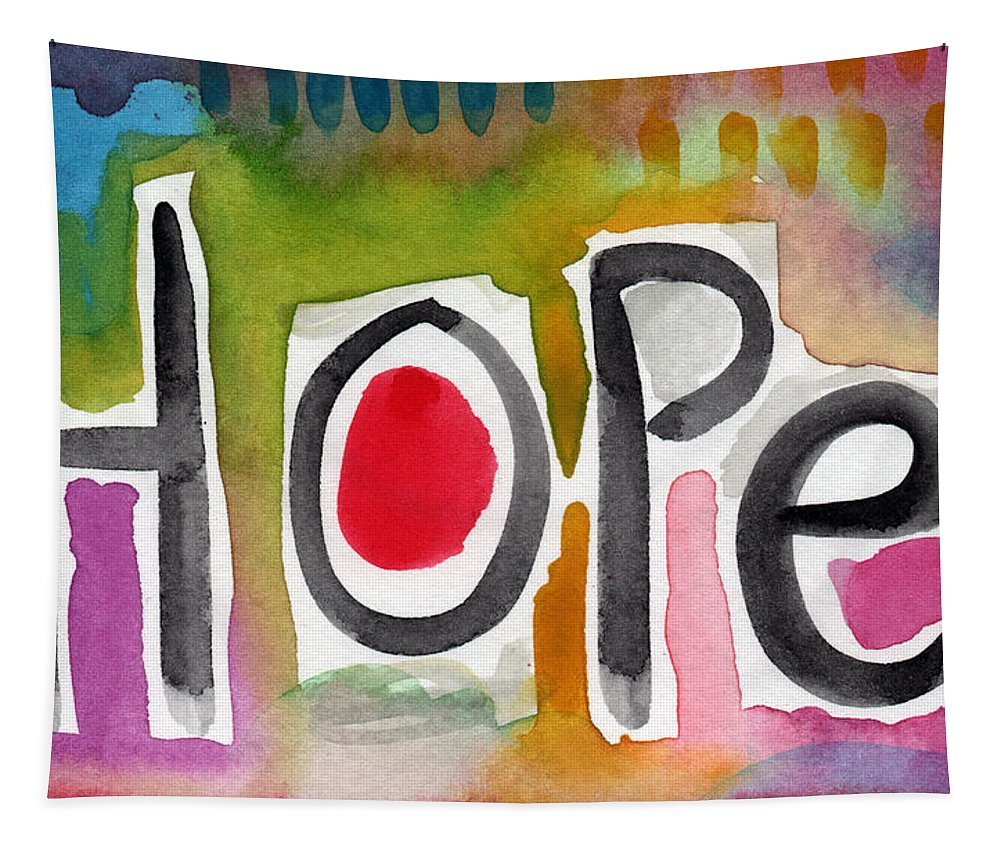 Hope Tapestry featuring the painting Hope- Colorful Abstract Painting by Linda Woods