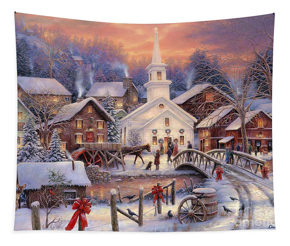 Snow Village Tapestry featuring the painting Hope Runs Deep by Chuck Pinson