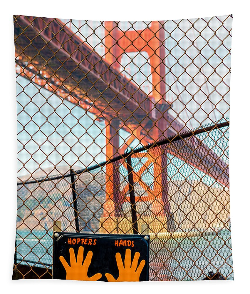 Golden Gate Bridge Tapestry featuring the photograph Hoppers Hands by Jerry Fornarotto